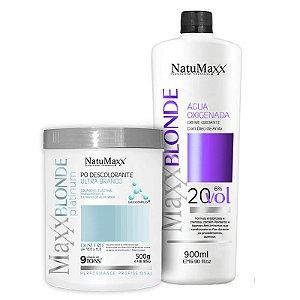 Kit Descoloração MaxxBLONDE - Pó Platimum Ultra Branco 500g + Água Oxigenada 20 Vol NatuMaxx