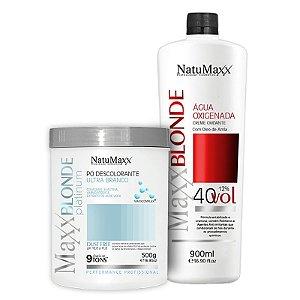 Kit Descoloração MaxxBLONDE - Pó Platimum Ultra Branco 500g + Água Oxigenada 40 Vol NatuMaxx