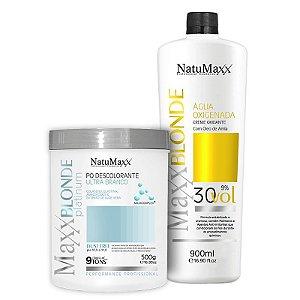 Kit Descoloração MaxxBLONDE - Pó Platimum Ultra Branco 500g + Água Oxigenada 30 Vol NatuMaxx