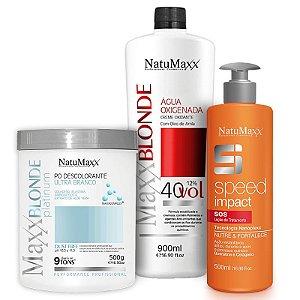 Kit Descoloração MaxxBLONDE - Pó Platimum Ultra Branco 500g + Água Oxigenada 40Vol + Speed Impact 500ml NatuMaxx