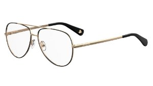 Óculos de grau Love Moschino MOL531 807 5613-Preto/Dourado
