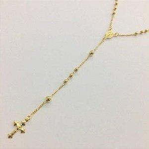 Colar terço de zircônia folhado a ouro M6369
