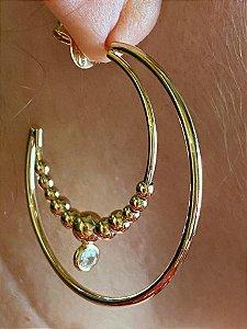 Argola de bolinha e zircônia folhado a ouro M6143