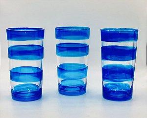 Conjunto de copos pintura artesanal-Azul