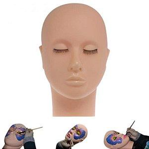 Cabeça de Silicone para Treino Extensão de Cílios e Micropigmentação