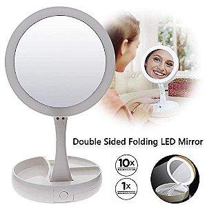 Espelho Mirror Dobrável com LED Aumento 10x