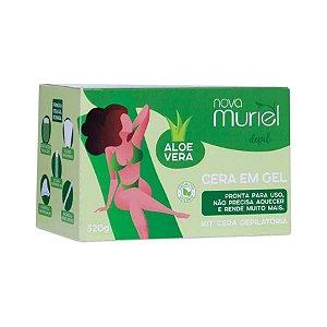 Kit Cera Depilatória Gel Pote Aloe Vera Muriel 320g