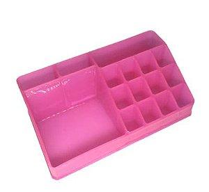 Organizador de Cosméticos Plástico Pink 22x7,5x12,5cm