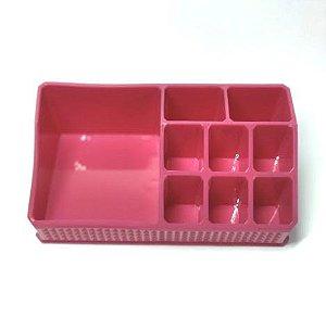 Organizador de Cosméticos Plástico Rosa 17x9x6,5cm