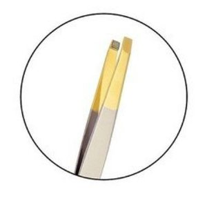 Pinça Klass Vough Prata ponta dourada reta