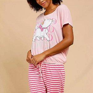 Pijama Estampa Marie Manga Curta Disney
