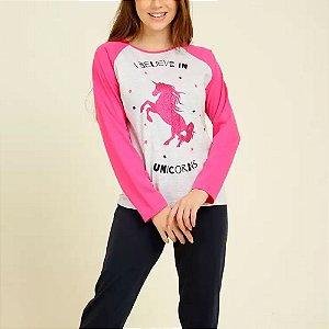Pijama Juvenil Manga Longa Unicórnio