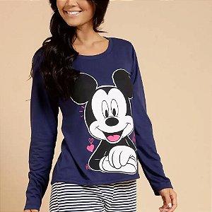Pijama Listrado Mickey Manga Longa Disney
