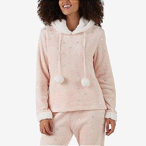 Pijama Longo Fleece Coração Foil Rosa Salmão