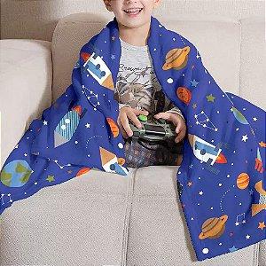 Manta Infantil Fleece Estampa Espaço - Menino