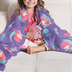 Manta Infantil Fleece Estampa Oceano - Menina