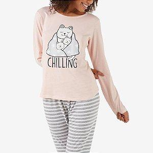 Pijama Longo Família dos Gatinhos Rosa Salmão