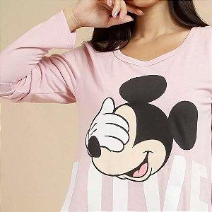 Pijama Feminino Estampa Mickey Manga Longa Disney