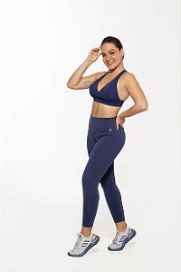 Calça Legging Fitness Capri Feminino ROMA Básica Azul Escuro