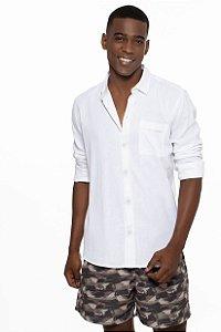 Camisa Moda Praia Manga Longa Masculino ROMA Bolso Branco
