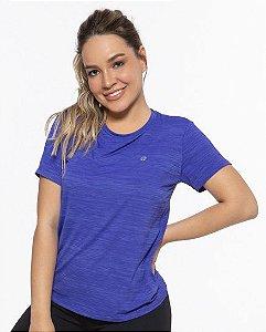Camiseta Fitness Manga Curta Feminino ROMA Básica Azul Médio