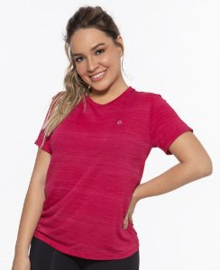 Camiseta Fitness Manga Curta Feminino ROMA Básica Rosa Médio
