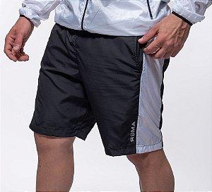 Bermuda Fitness  Masculino ROMA Recorte Lateral Preto/Branco Escuro