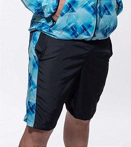Bermuda Fitness  Masculino ROMA Recorte Lateral Preto/Estampado Escuro