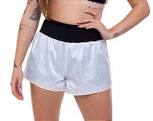 Shorts Fitness Curto Feminino ROMA com brilho Branco