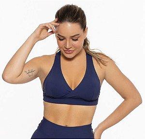 Top Fitness Médio Impacto Emana Feminino ROMA Cruzado Azul Escuro