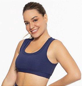Top Fitness Médio Impacto Feminino ROMA Duplo Azul Escuro