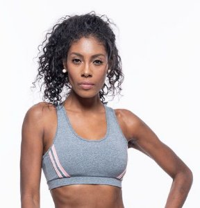 Top Fitness Médio Impacto Feminino ROMA Fita Lateral Cinza Médio