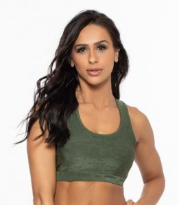 Top Fitness Médio Impacto Feminino ROMA Textura Verde Escuro