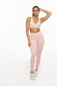 Calça Legging longa Emana Fitness Feminino  ROMA Costura Frontal Rosa Claro