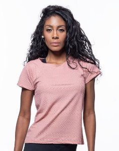 Camiseta Fitness Manga Curta Feminino ROMA Textura Rosa Médio
