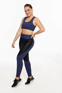 Calça Legging Fitness Longa Feminino ROMA Bicolor Azul/Preto Escuro