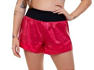 Shorts Fitness Curto Feminino ROMA com brilho Rosa Escuro