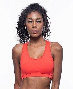 Top Fitness Médio Impacto Feminino ROMA Linhas Costas Vermelho Médio