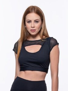 Top Fitness Cropped Feminino ROMA Tela Sobreposta Preto