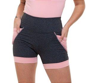 Shorts Fitness Curto Feminino ROMA Bicolor Cinza/Rosa