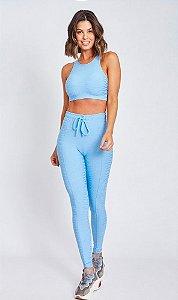 Calça Legging Longa Fitness Feminino ROMA Textura Azul Claro