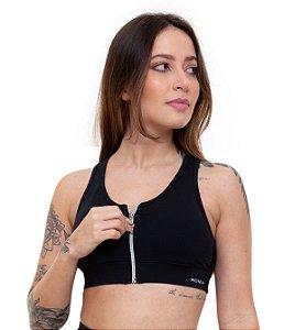Top Fitness Médio Impacto Feminino ROMA Ziper Preto