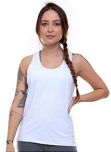 Regata Fitness Cavada Feminino ROMA Tela Costas Branco