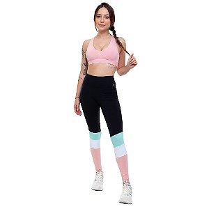 Calça Legging Fitness Longa Feminino ROMA Tricolor Preto