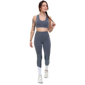 Calça Legging Fitness Longa Feminino ROMA Recorte Lateral Cinza Claro