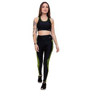 Calça Legging Fitness Longa Feminino ROMA Recorte Lateral Preto/Verde