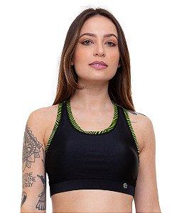 Top Fitness Nadador Feminino ROMA Básico Preto/Verde