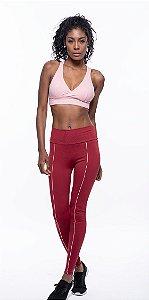 Calça Legging Fitness Longa Feminino ROMA Viés Frontal Vermelho Escuro