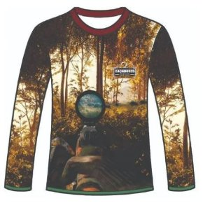 Camiseta Camuflada Manga Longa Caçadores Brs Atirador Javali