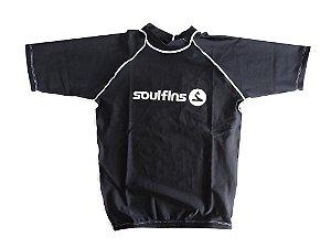 Camiseta de Lycra Soul Fins UV Protection 50+ / Manga Curta Preto
